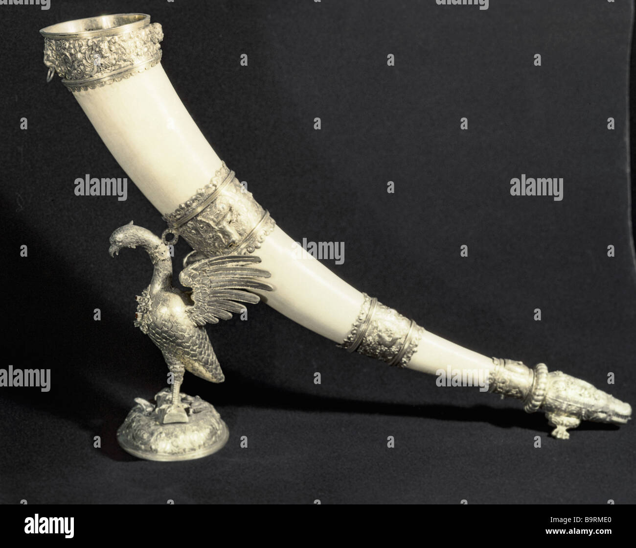 Ivory wine horn mounted in silver gilt from the collection of the Moscow Kremlin s Armory - Stock Image