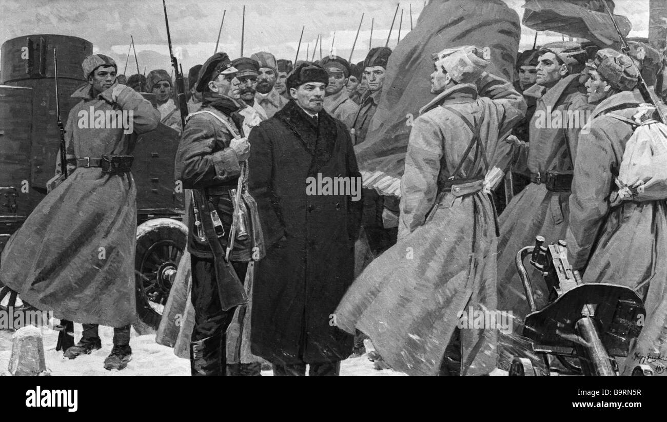Zherdzitsky s canvas Lenin Sees Off the 1st Socialist Army was exhibited at an art exposition dedicated to the 50th - Stock Image