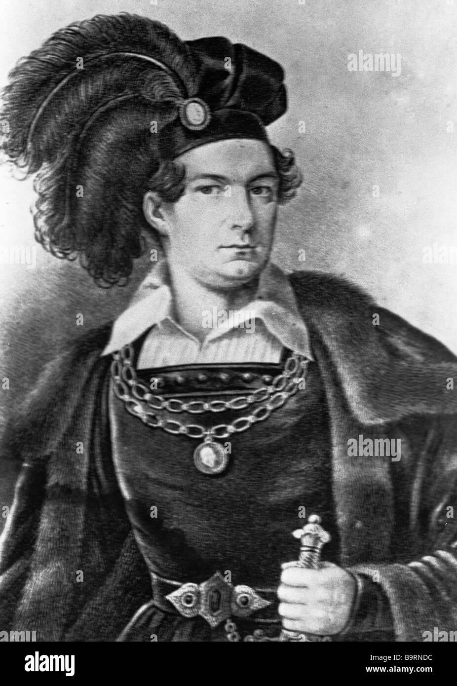 Actor Vasily Karatygin as Hamlet in the production of Hamlet staged at the Alexandrinsky Theater - Stock Image