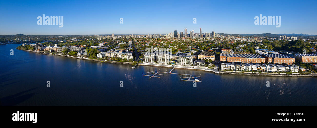 Newstead Brisbane aerial panoramic Queensland Australia - Stock Image