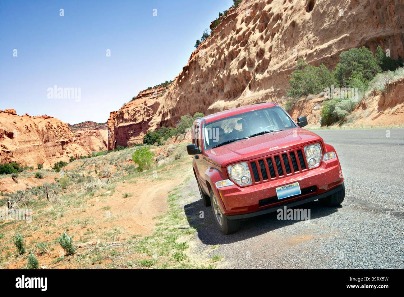 4 Wheel Drive Vehicle in Capitol Reef National Park Utah USA - Stock Image