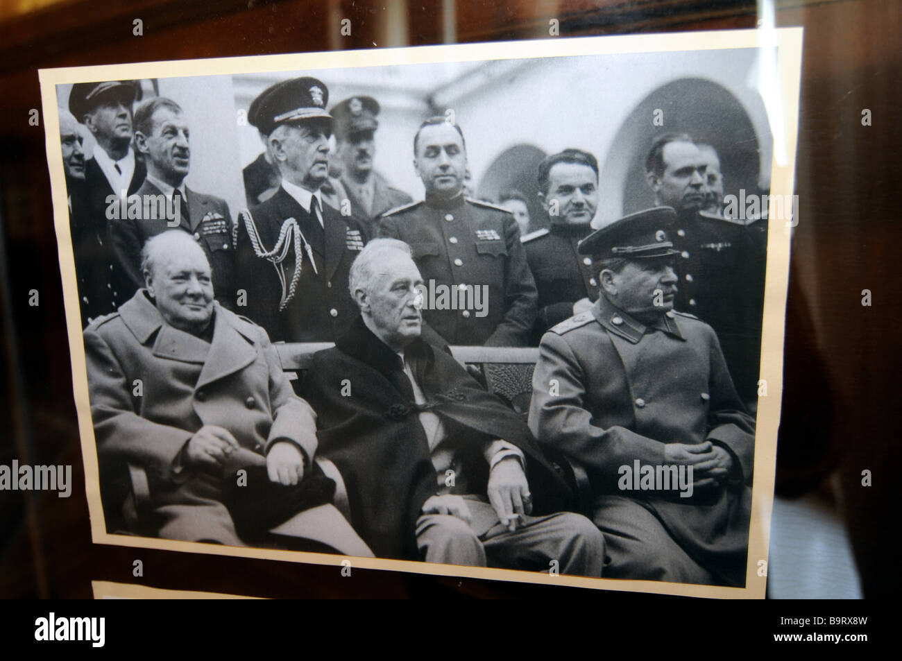 Photo of Churchill, Roosevelt, and Stalin at the Yalta conference; on display in the Livadia palace in Crimea, Ukraine. - Stock Image