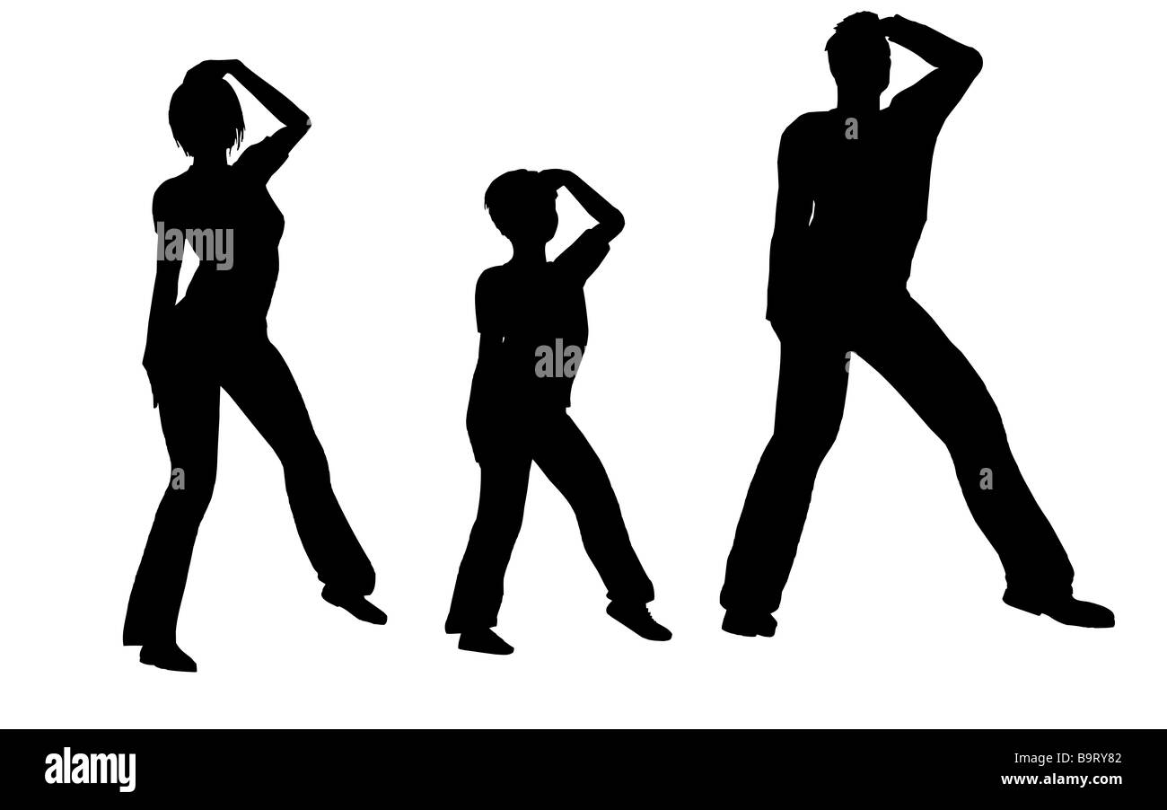 dance family vector - Stock Image