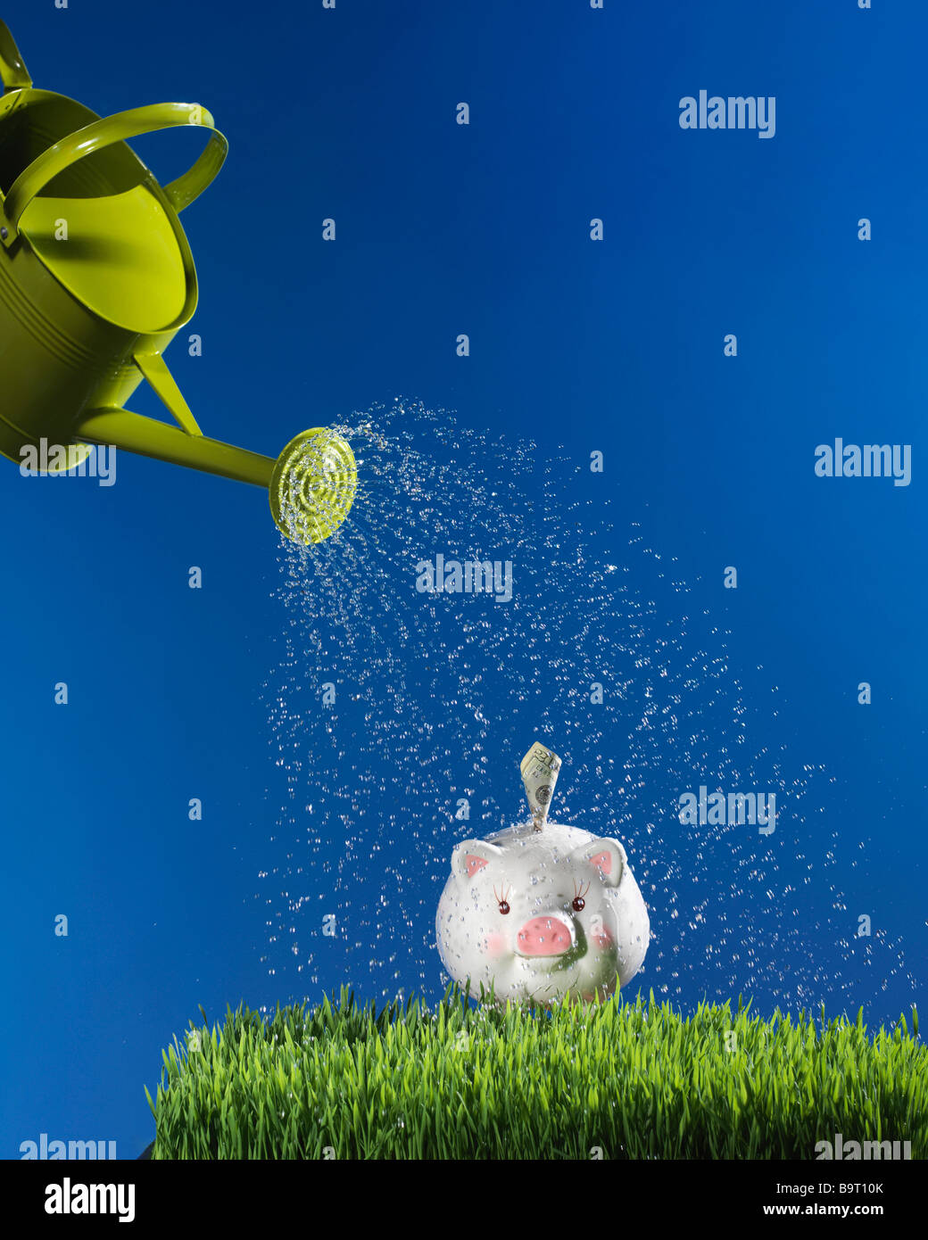 watering can sprinkling water onto piggy bank in grass with blue sky - Stock Image