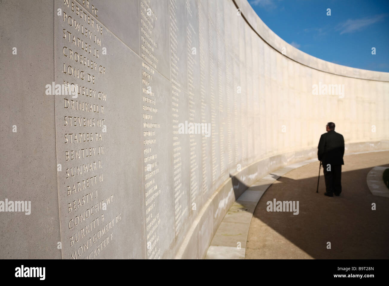 Inscribed names of members of the forces who have been killed on duty at the Armed Forces Memorial, Staffordshire - Stock Image