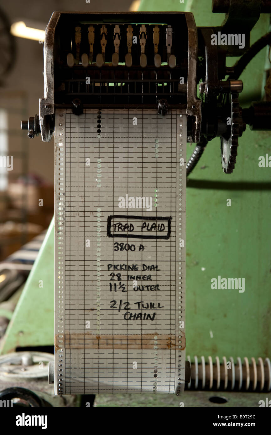 The plastic pattern chain cards that control the weaving looms at Melin Tregwynt welsh woollen mill  Pembrokeshire - Stock Image