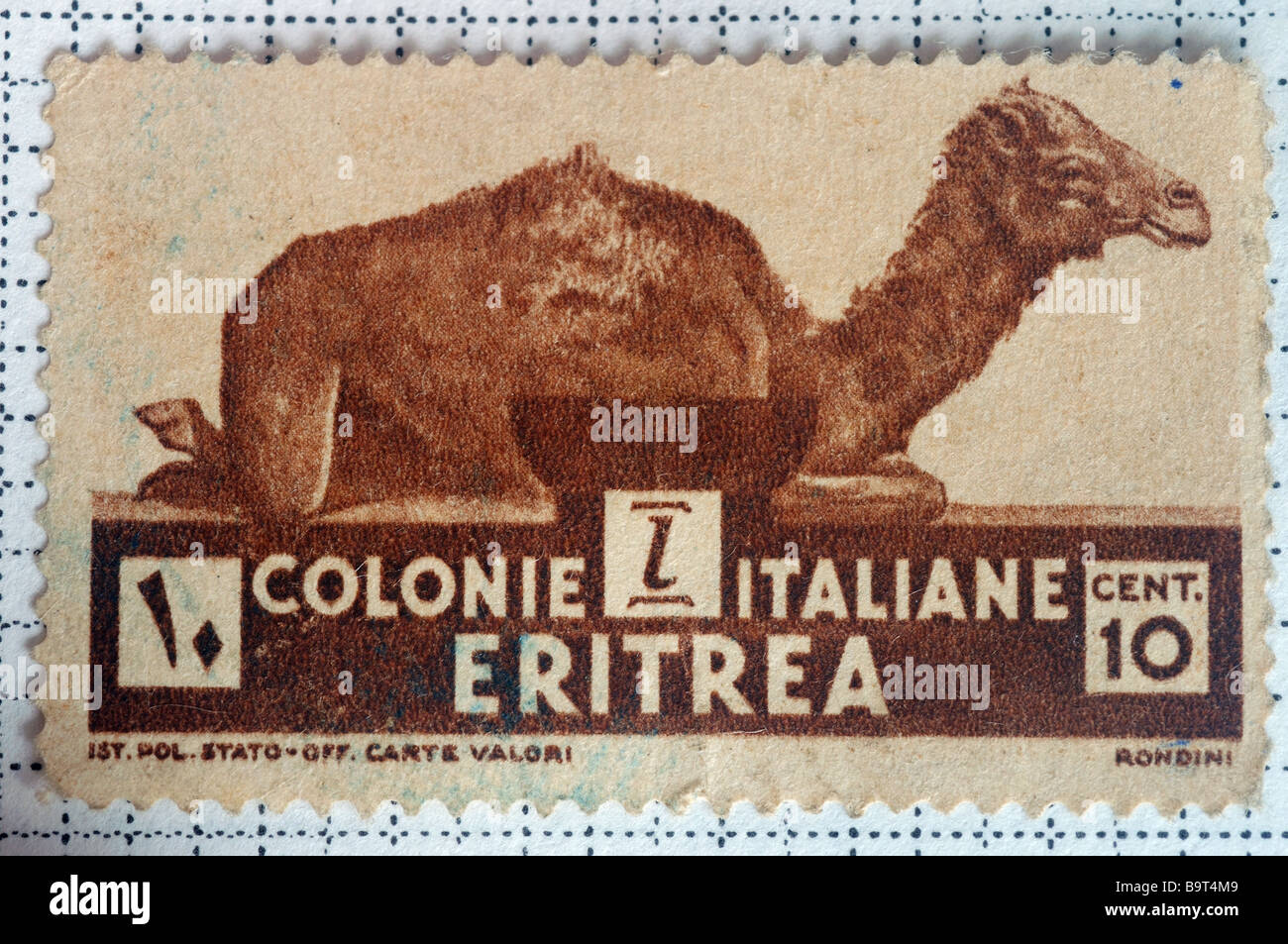 An old stamp from the Italian colony of Eritrea - Stock Image