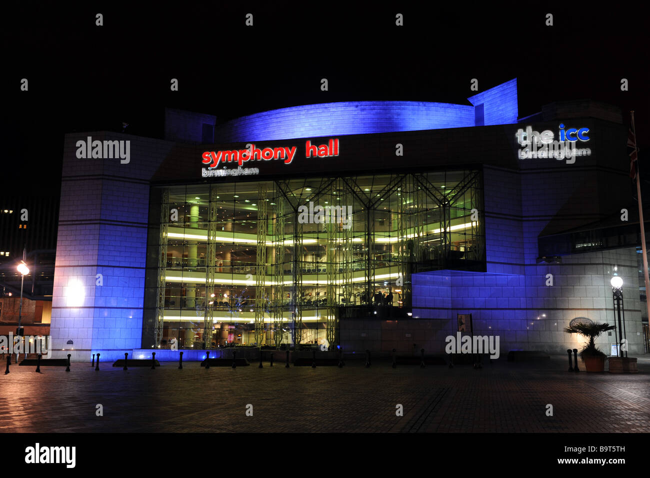 The Birmingham Symphony Hall and ICC in Centenary Square at night England Uk Stock Photo