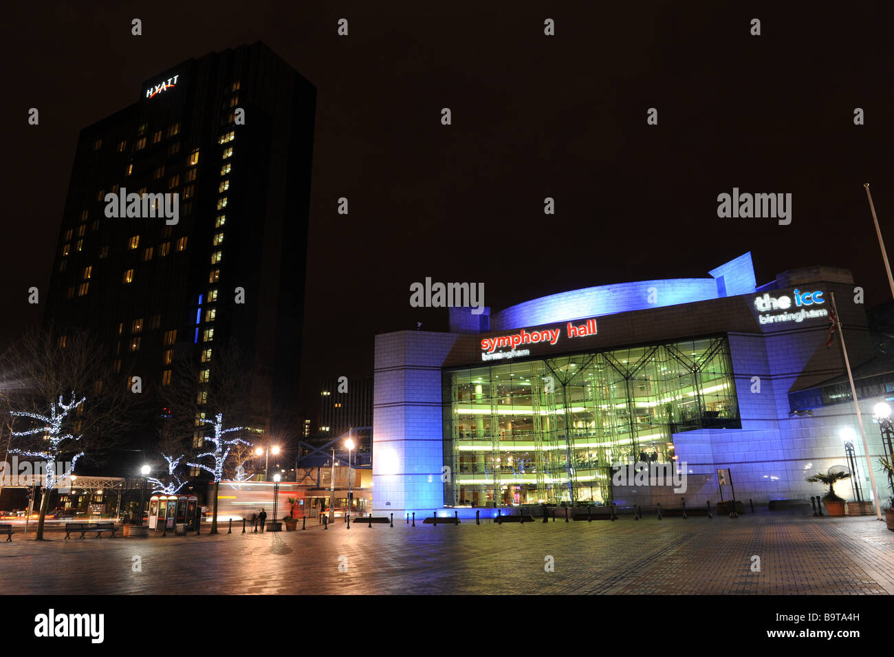 The Birmingham Symphony Hall and ICC with Hyatt Hotel in Centenary Square at night England Uk Stock Photo