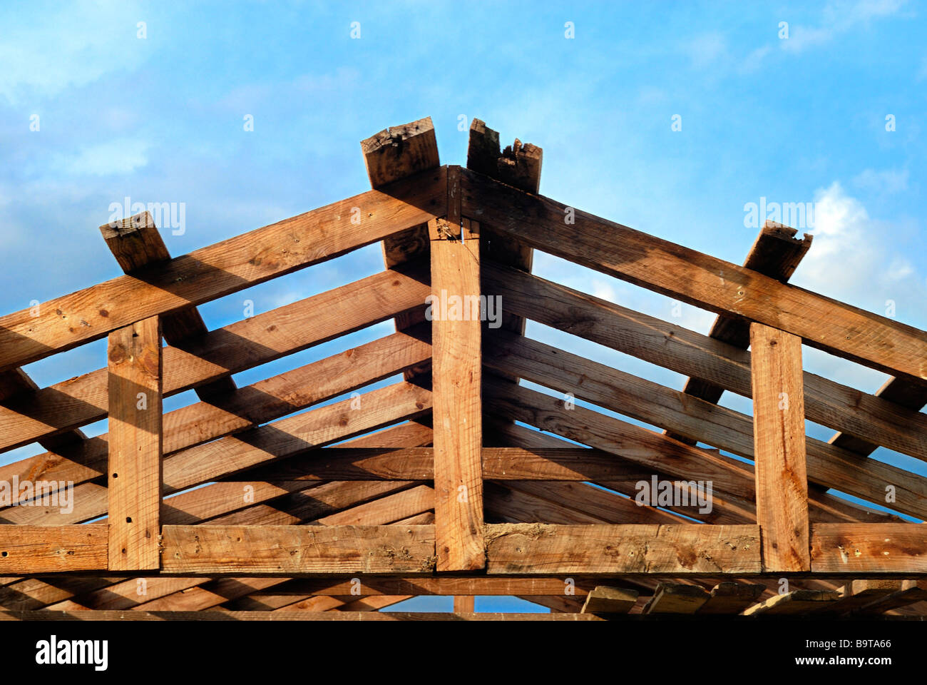 Exposed framework of a barn - Stock Image