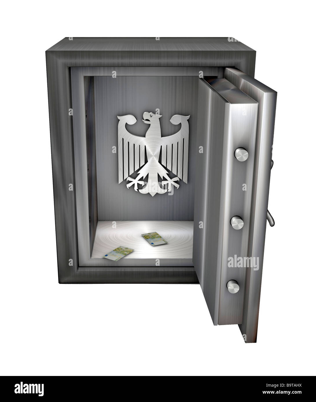 Emptied safe with federal eagle Symbol the German state is bankrupt - Stock Image