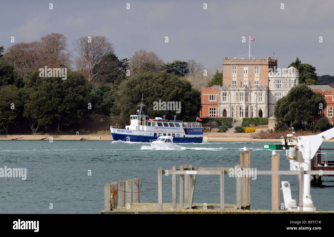 Branksea Castle on Brownsea Island Dorset England UK The castle is owned by the John Lewis Partnership - Stock Image