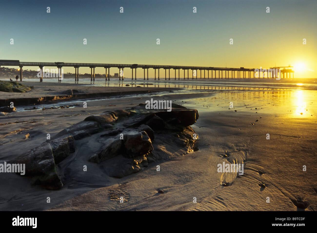 Pier of Scripps Institute of Oceanography La Jolla Beach San Diego CA USA - Stock Image