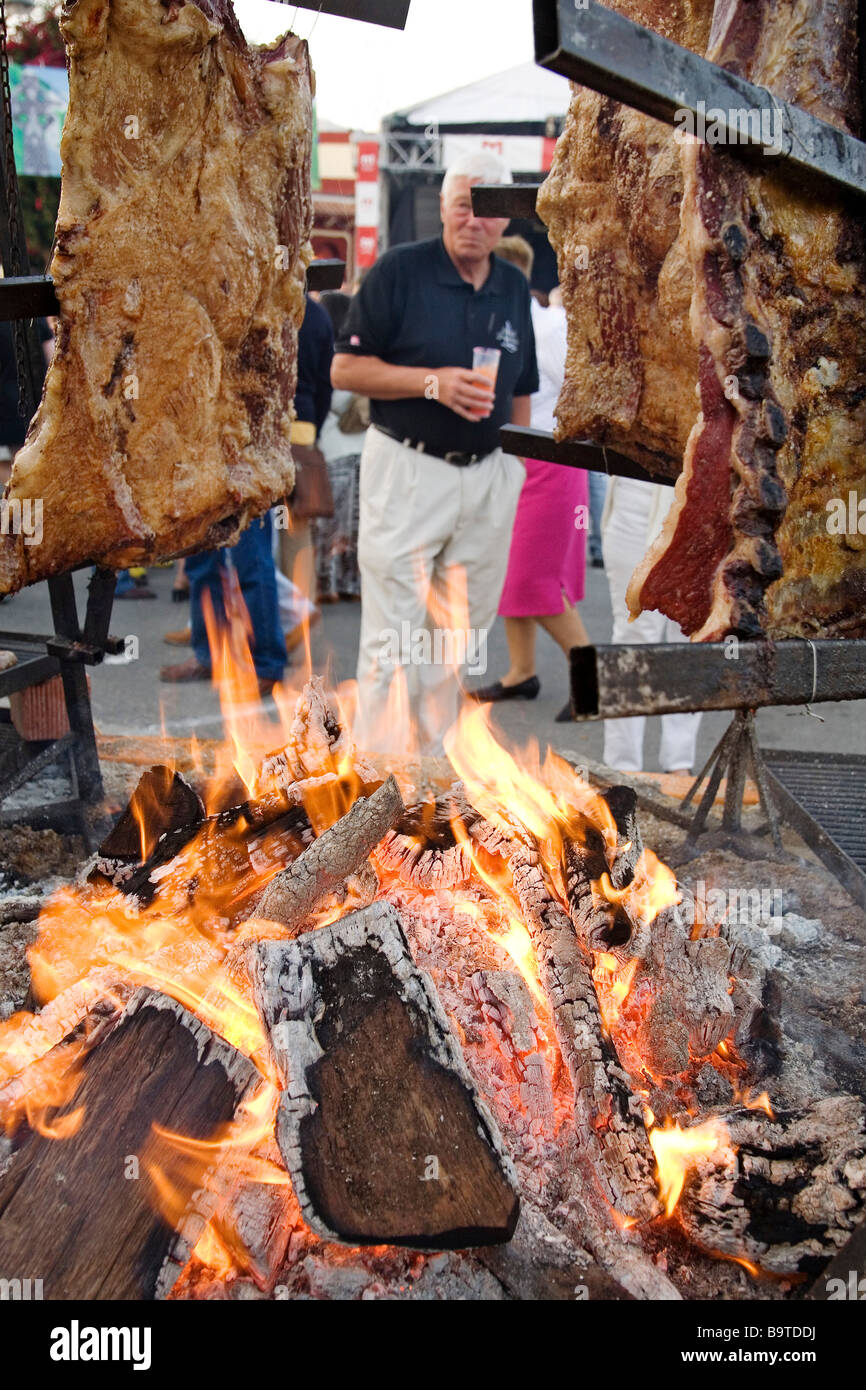 Typical Asado Argentino International Fair of the People in Fuengirola Málaga Sun Coast Andalusia Spain - Stock Image