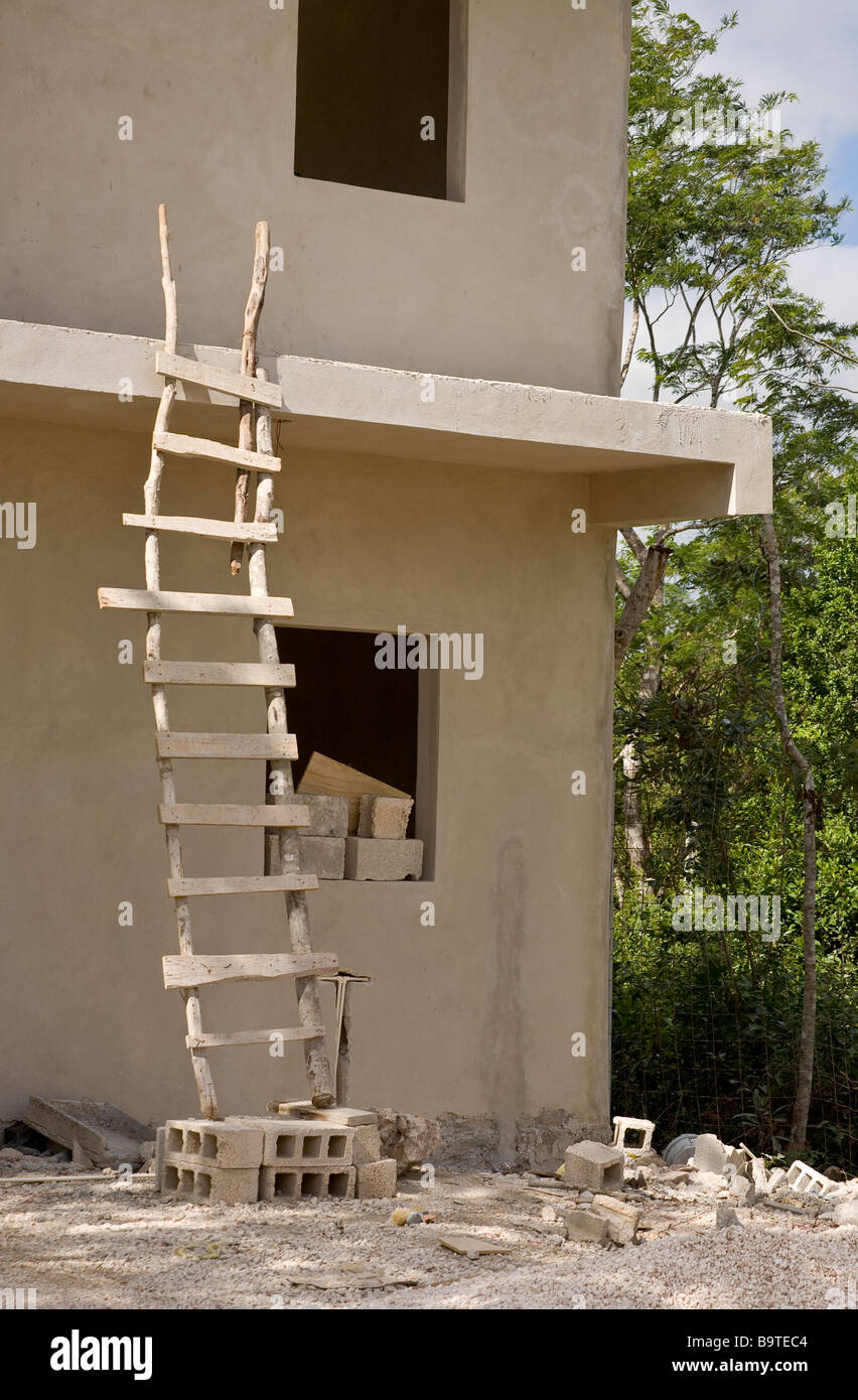 Ladder for a country house on the second floor - wooden, metal, concrete, photo