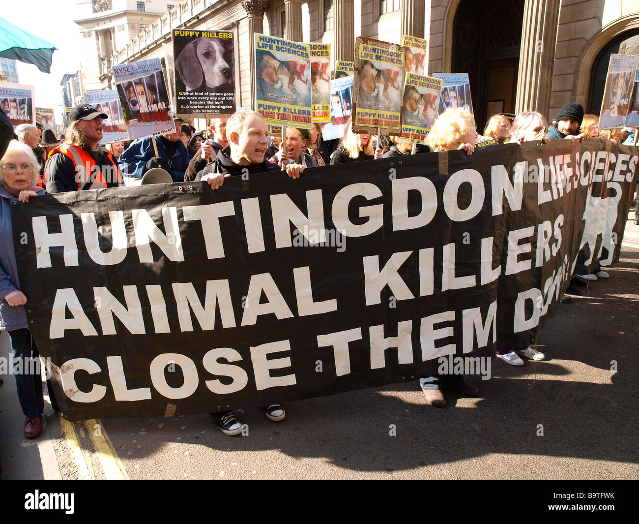 SHAC demonstration in London.The campaign Stop Huntingdon Animal Cruelty (SHAC) staged a march to protest against - Stock Image