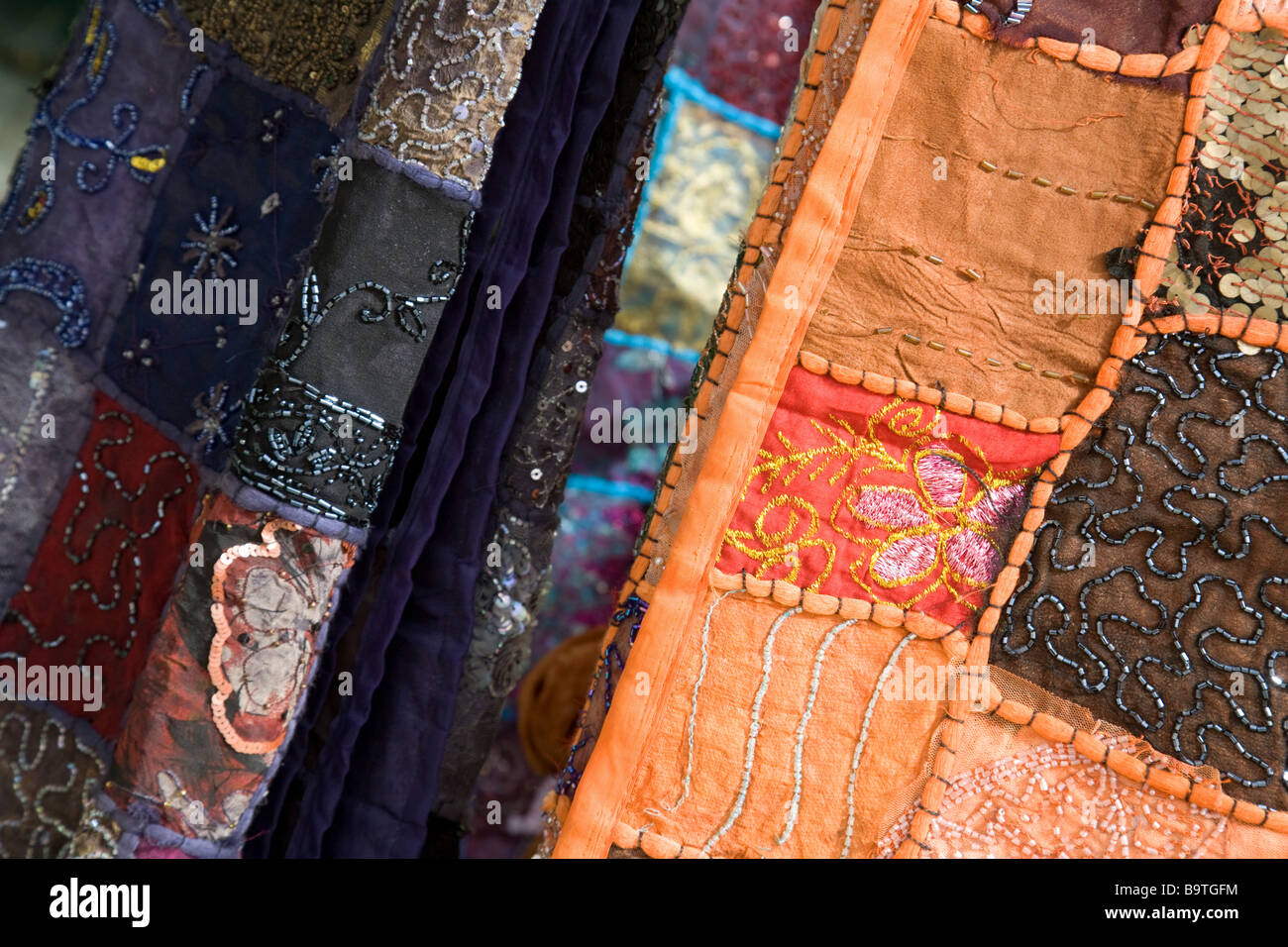Close up of colourful material for sale, Jordan - Stock Image