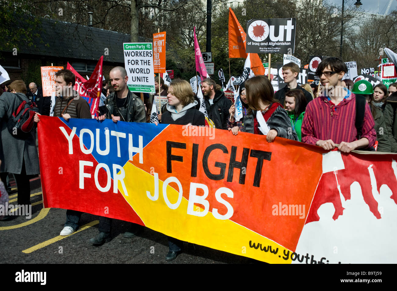 Young people protesting against youth unemployment. - Stock Image
