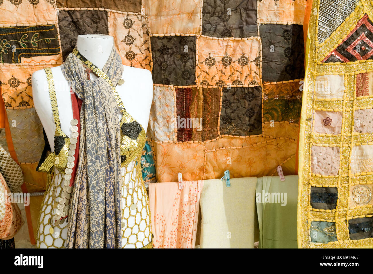 Clothes and material for sale, Jordan - Stock Image