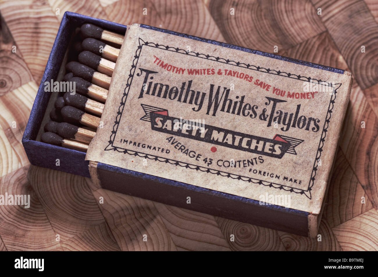 Vintage box of safety matches from 1960's - Stock Image