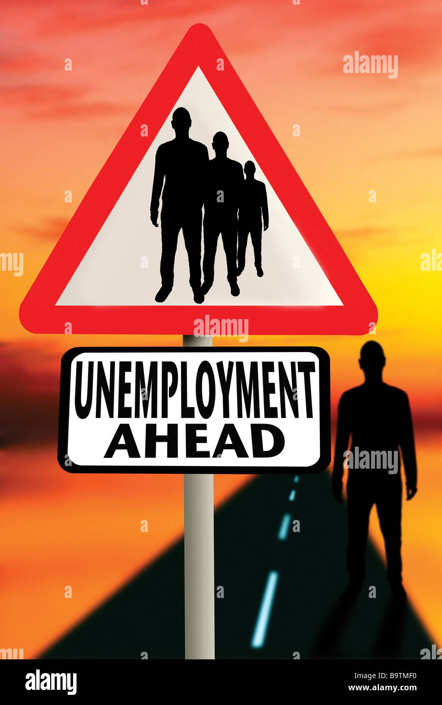 unemployment sign with unemployed man - Stock Image