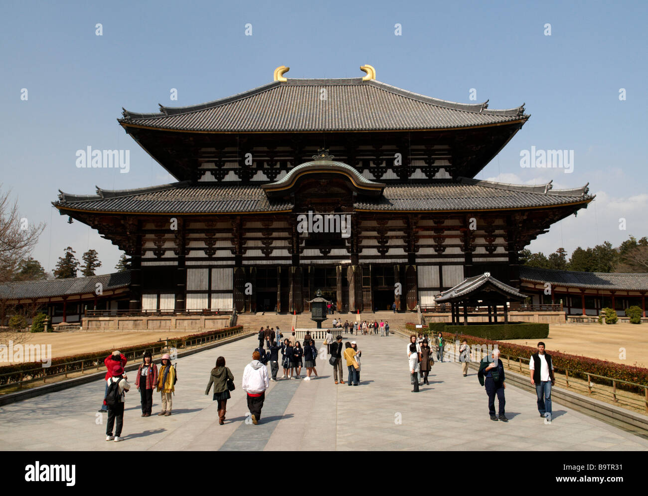 The Daibutsu-den Hall - the largest wooden building in the world and part of the Todai-ji temple complex in Nara, - Stock Image