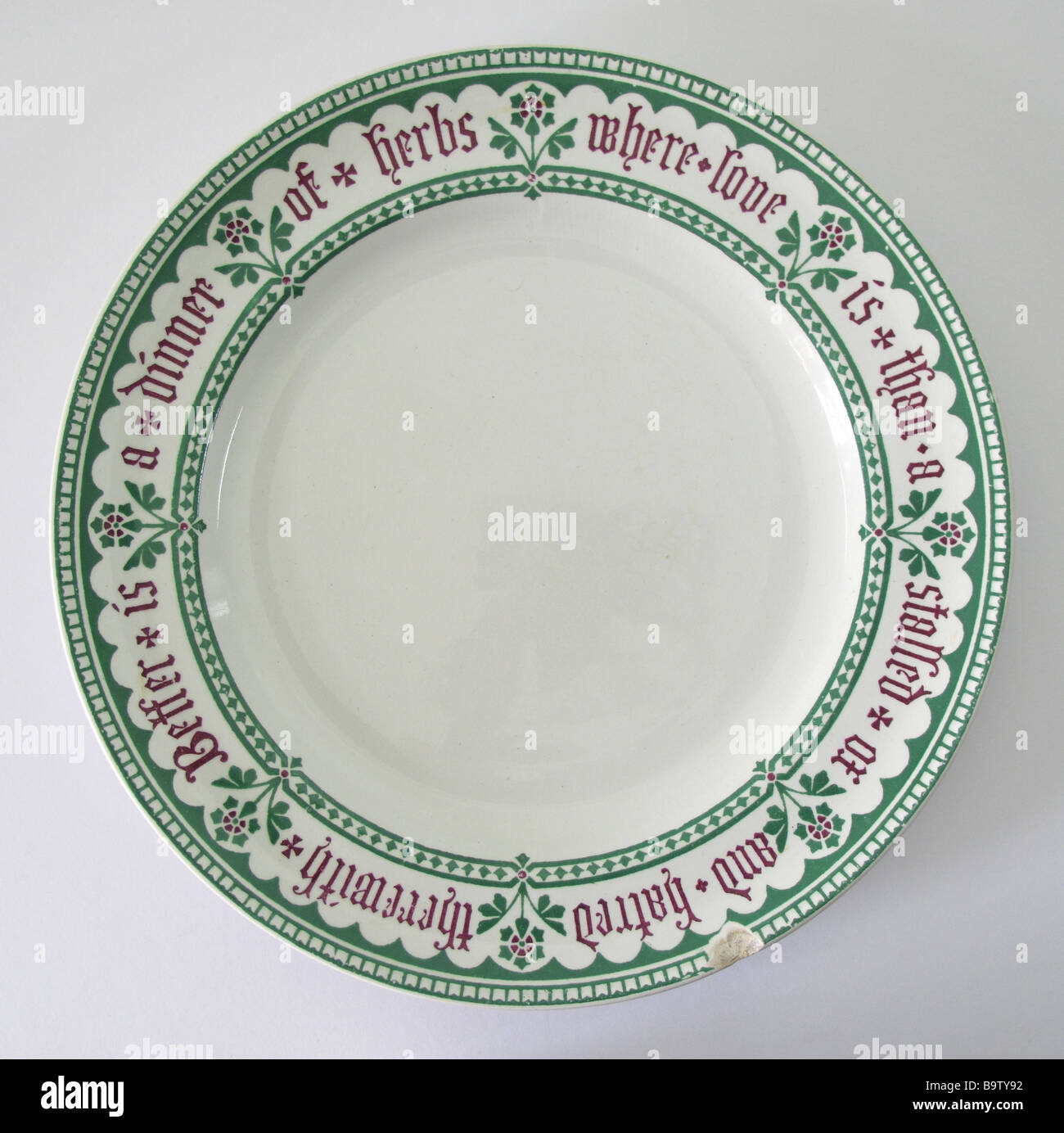 Minton dinner plate with Gothic moto border designed by A.W.N. Pugin circa 1845. - Stock Image