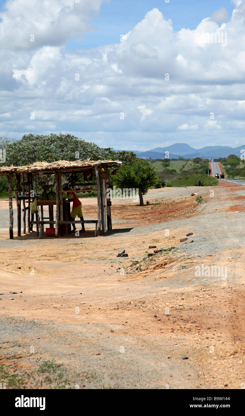 Fruits vendor on the road side in the hinterland of Bahia Brazil South America - Stock Image