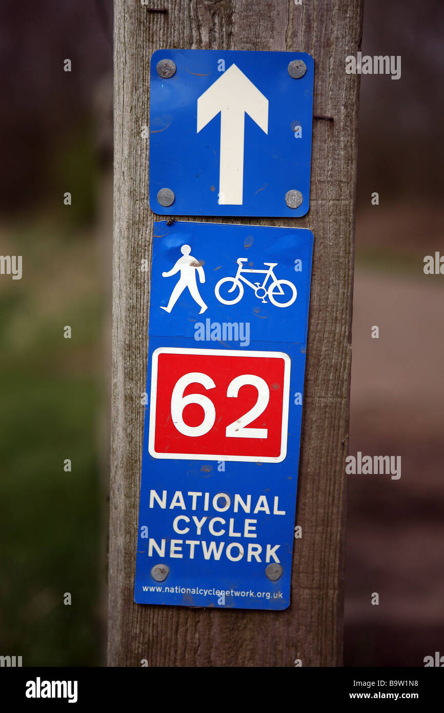 trans pennine trail sign at a gate on the trans pennine trail near Chorlton, Manchster, UK. - Stock Image
