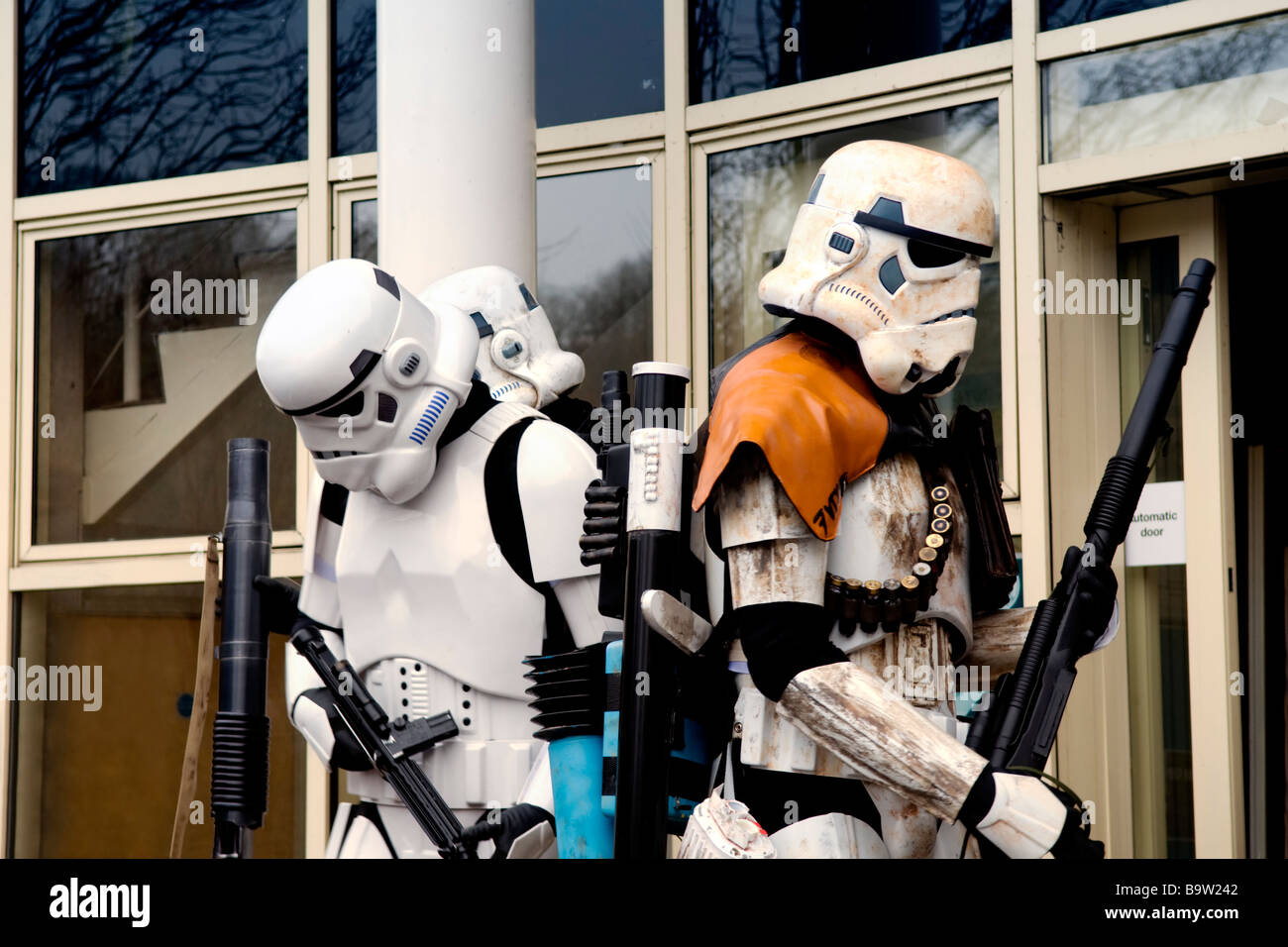 Star Wars storm troopers characters at a sci-fi day held at the Bradford on Avon library in Wiltshire Stock Photo