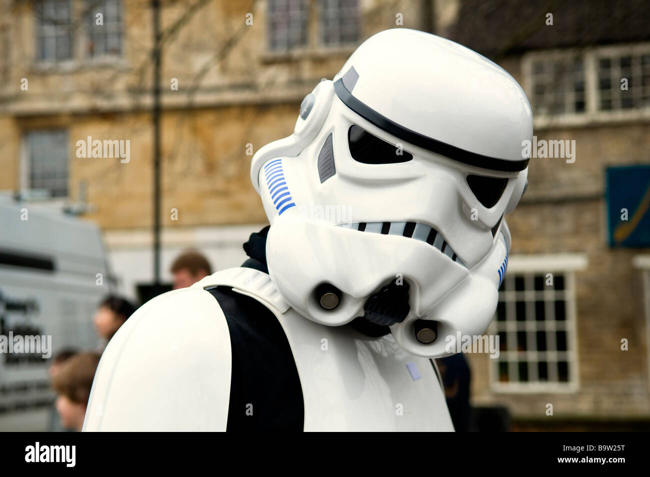Head shot of a Star Wars storm trooper character at a sci-fi day held at the Bradford on Avon library in Wiltshire - Stock Image