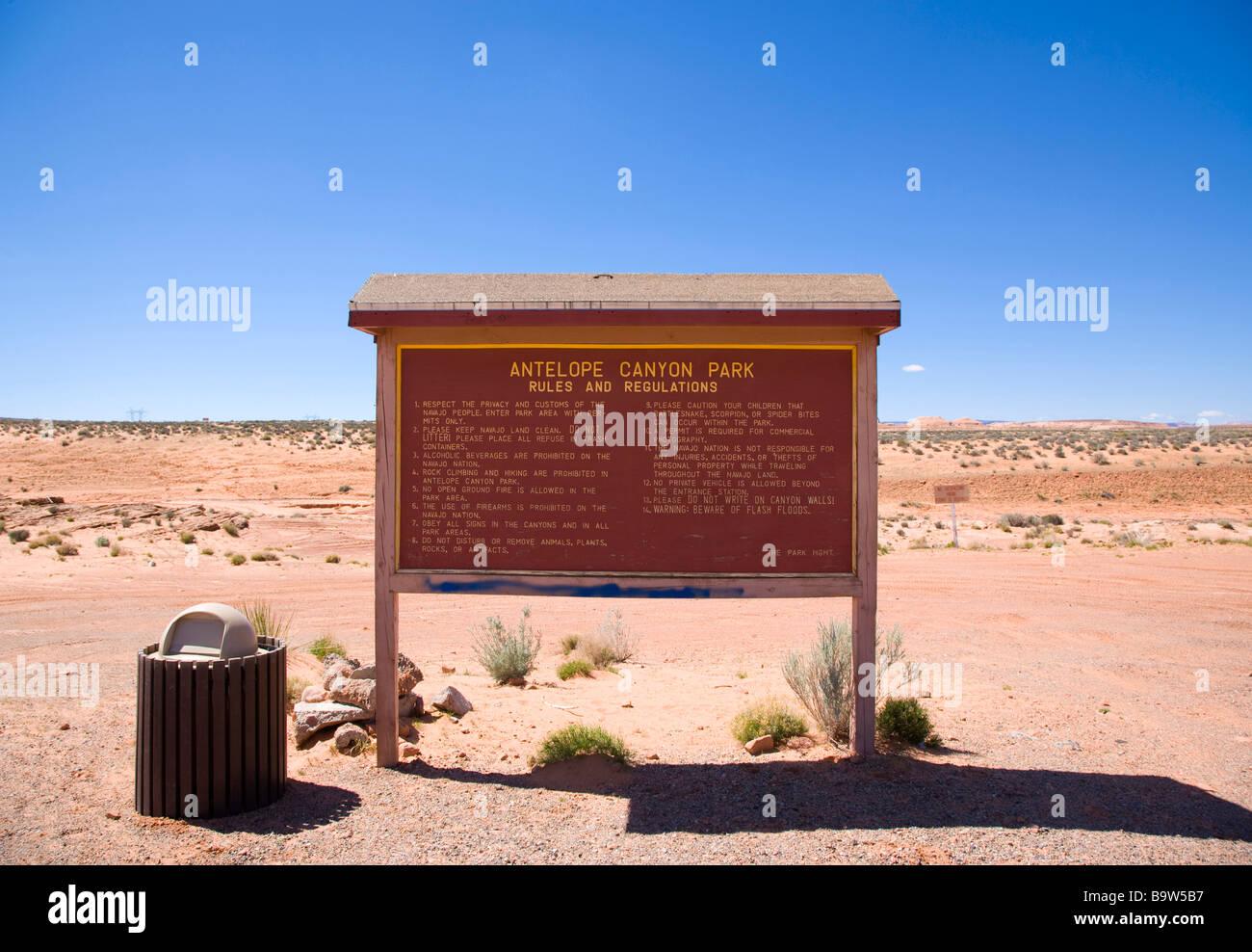 Antelope Canyon rules and regulations sign near Page, Arizona, USA - Stock Image
