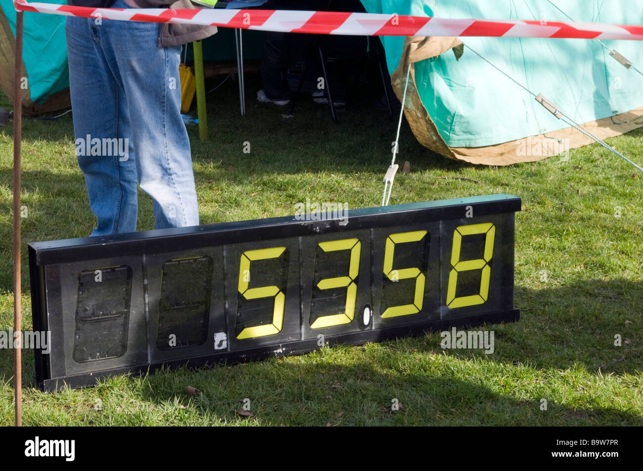 Electronic clock/timer for marathon runners at the finish line Derbyshire England - Stock Image