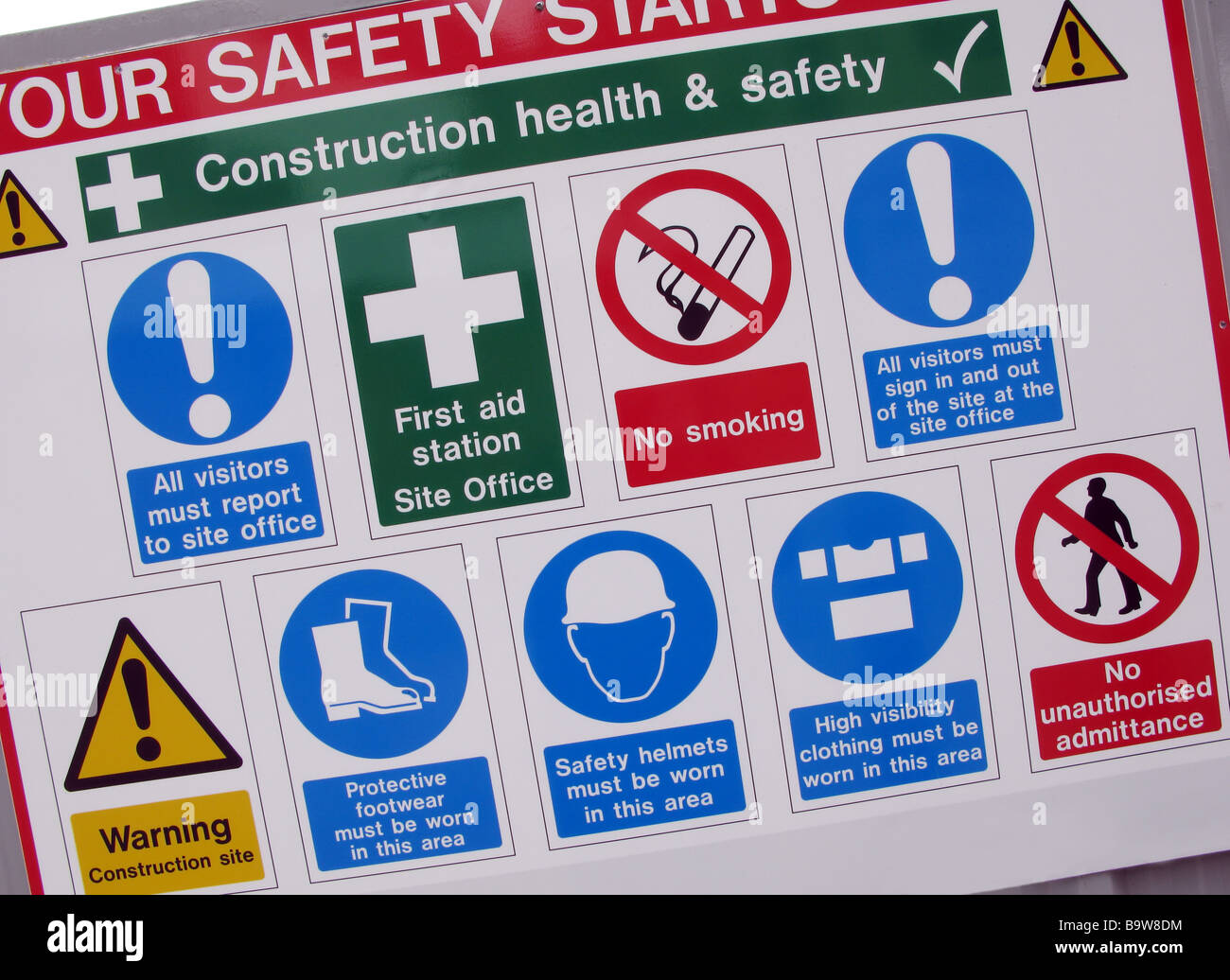 Health and Safety Sign for Construction Site Stock Photo