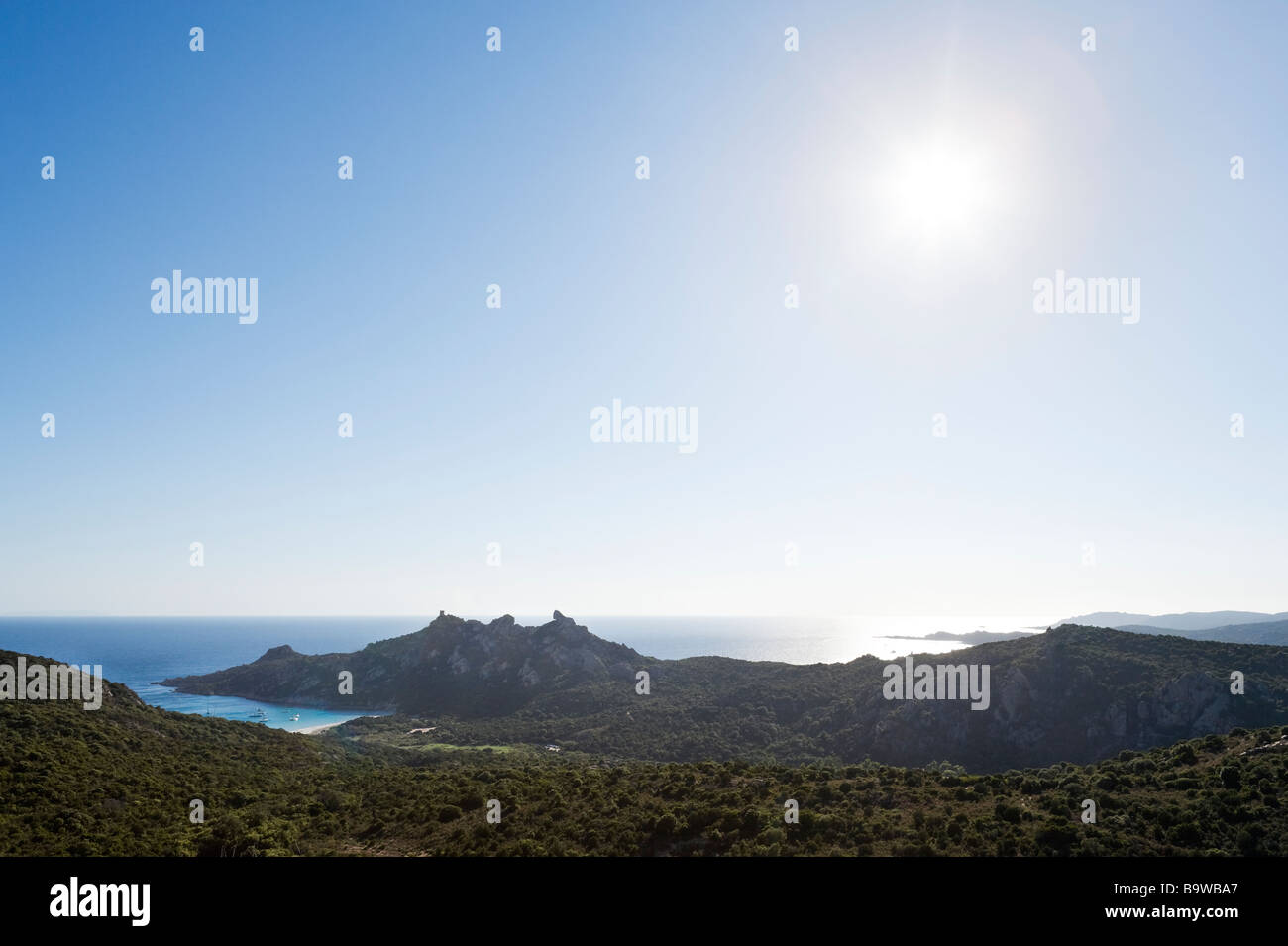 View over the Gulf of Roccapina and the Lion Rock in the late afternoon, South Coast, near Sartene, Corsica, France Stock Photo
