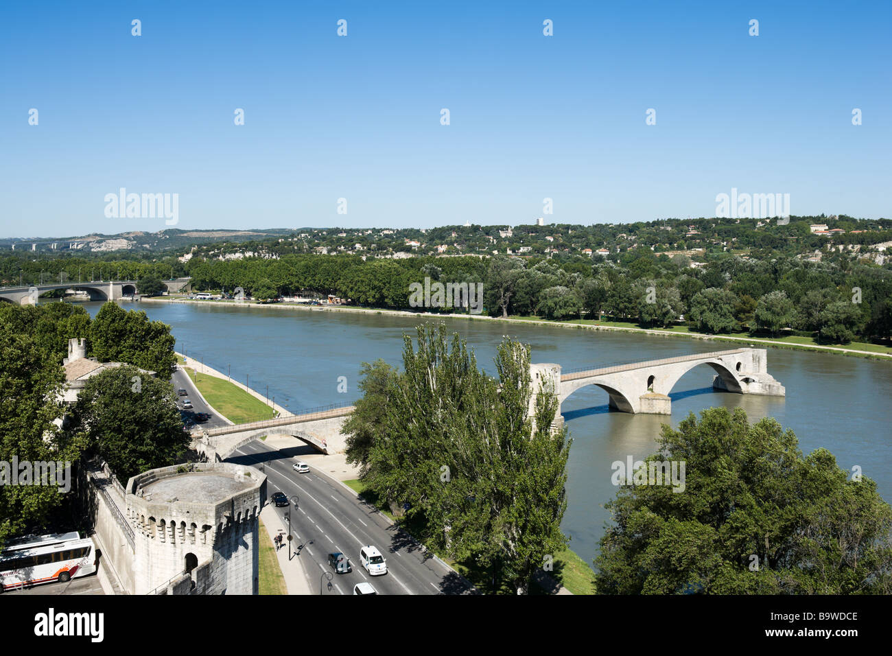 Pont Saint Benezet (the famous Pont d'Avignon) on the River Rhone seen from the Rocher des Doms park, Avignon, - Stock Image