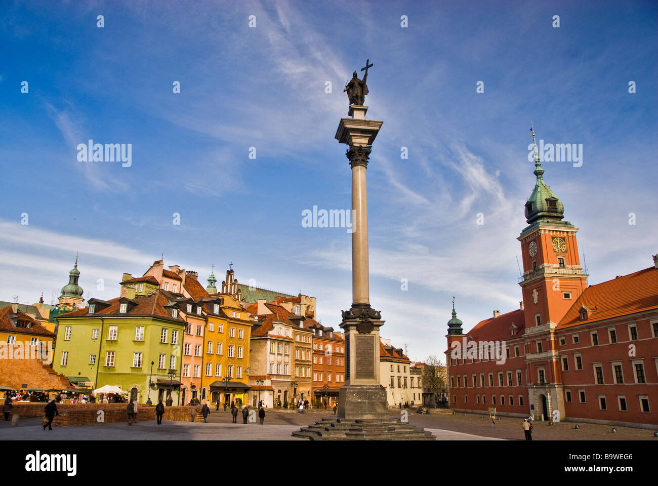 Zygmunt´s column in the Zamkowy square. Warsaw city center. Poland, Europe. Stock Photo