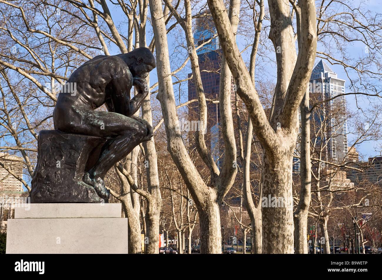 Rodin's 'The Thinker' sculpture Philadelphia Pennsylvania USA - Stock Image