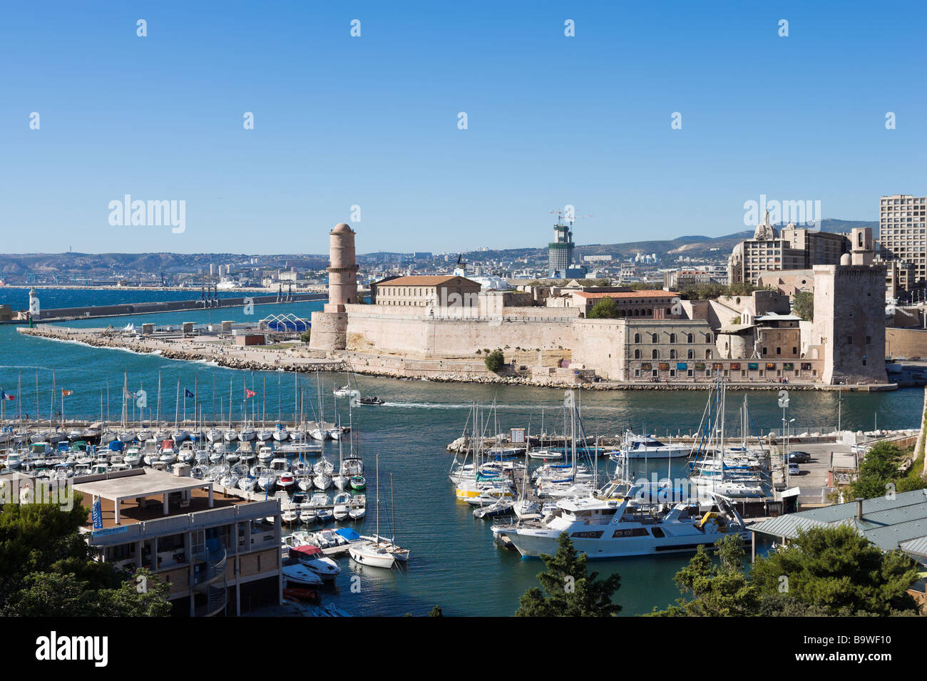 View of Fort St Jean from Fort St Nicolas, the Vieux Port, Marseille, Cote d'Azur, France - Stock Image