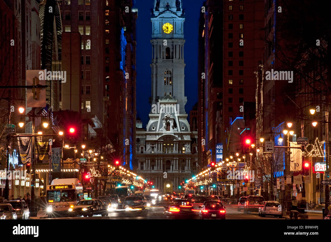 Broad Street nightlife leading to City Hall Philadelphia Pennsylvania USA - Stock Image