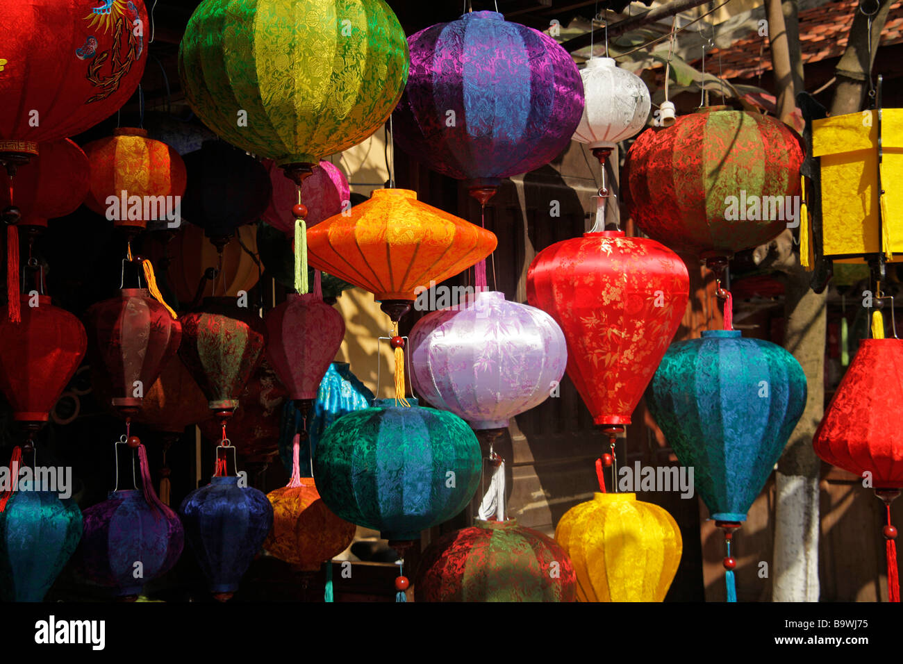 popular with tourists the colourful silk lanterns of Hoi An Vietnam - Stock Image