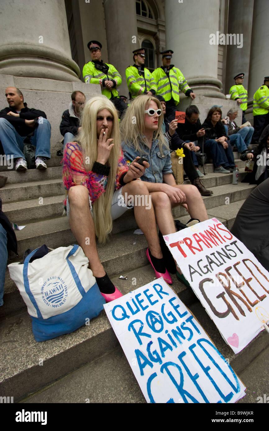 G20 demonstration London transvestite protestors - Stock Image