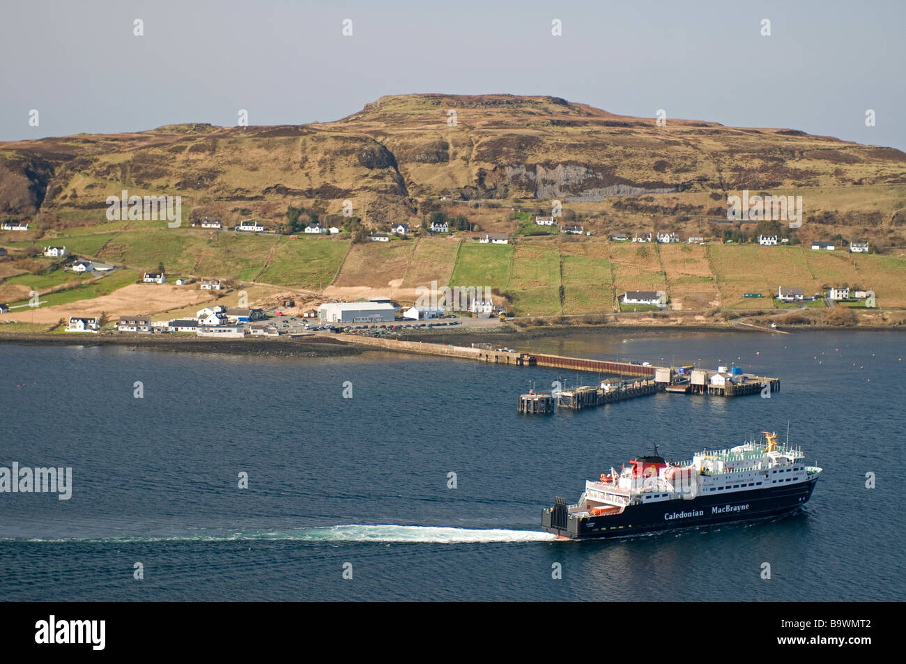 Caledonian MacBrayne's ferry arriving at Uig on the Trotternish peninsula on the north west of the Isle of Skye Stock Photo