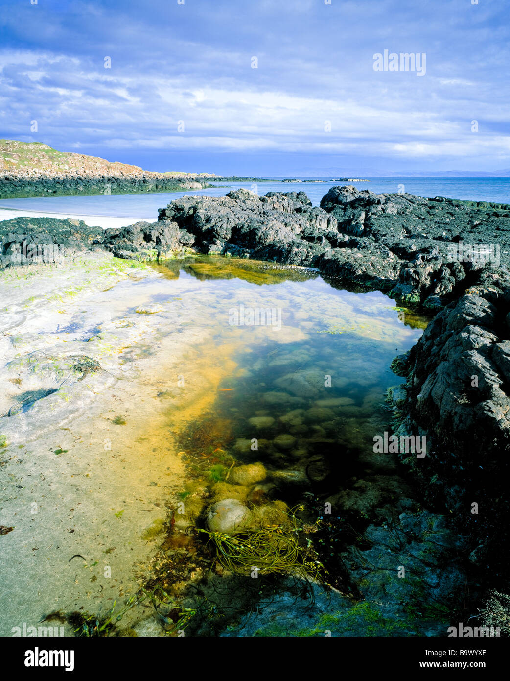 Morning at Rubha na Crannaig, Kildonan.  Isle of Eigg.  Scottish Isles. - Stock Image