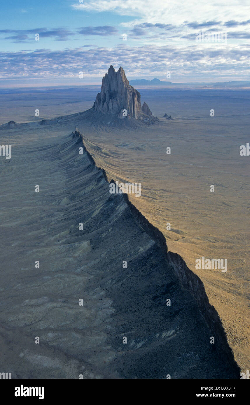 Aerial view of Shiprock an ancient volcanic neck with radiating dikes near Shiprock New Mexico - Stock Image
