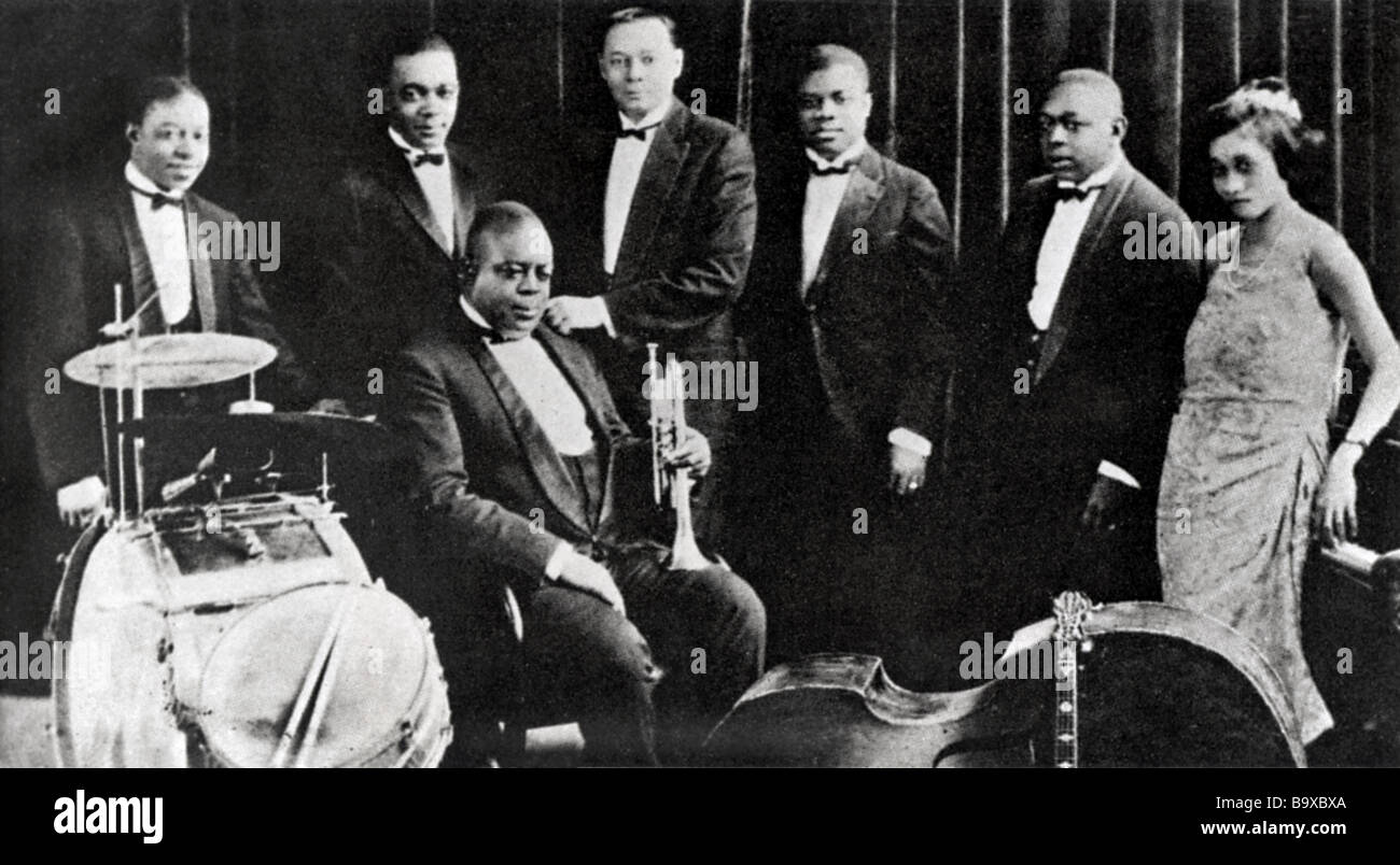 KING OLIVER S CREOLE JAZZ BAND in 1922 - see Description below for details - Stock Image