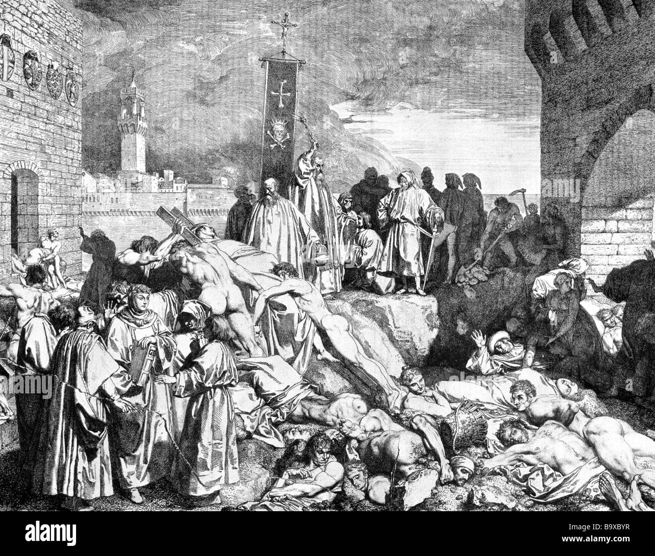 BUBONIC PLAGUE victims in Florence in 1348
