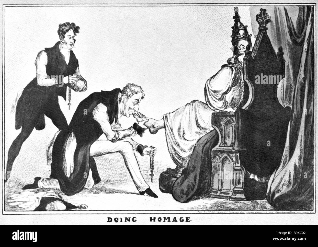 CATHOLIC EMANCIPATION 1828 Cartoon showing the Duke of Wellington as Prime Minister kissing the toe of the Pope - Stock Image