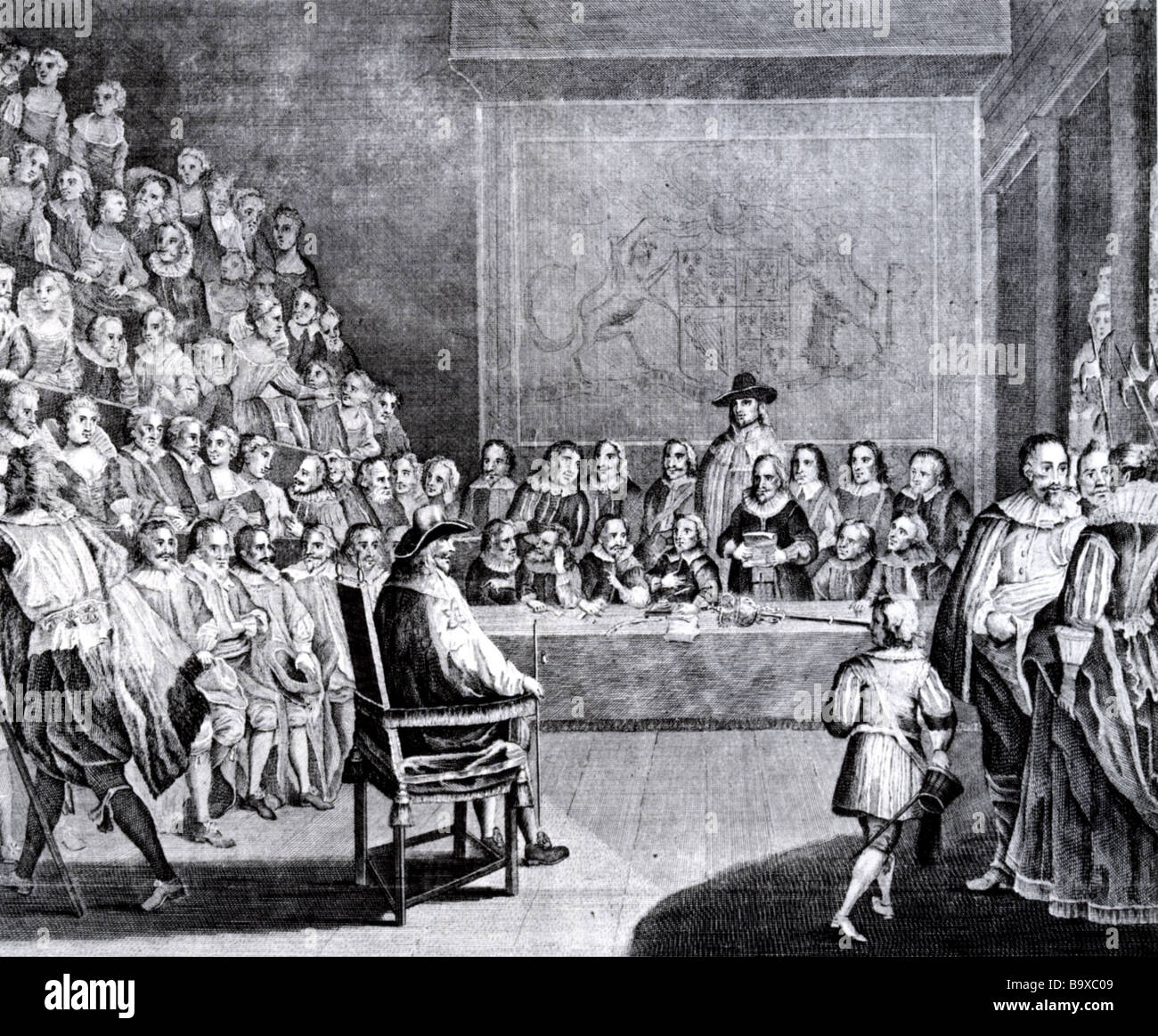 TRIAL OF KING CHARLES I on 4 January 1649 in the House of Commons - Stock Image