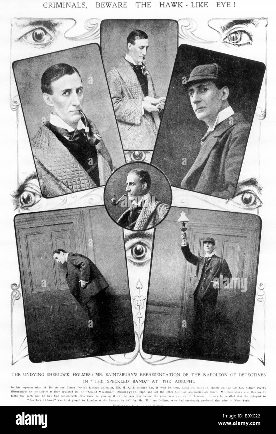 SHERLOCK HOLMES as portrayed by H A Saintsbury in a stage version that toured the UK in 1906 - Stock Image